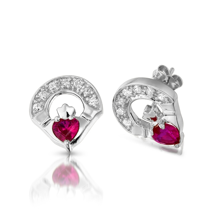 9ct White Gold Ruby Claddagh Earrings studded with Cubic Zirconia and CZ Ruby in Micro Pave stone setting - E187RW