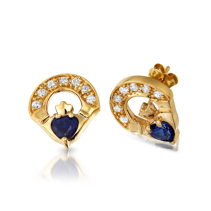 9ct Gold Sapphire Claddagh Earrings studded with Synthetic Sapphire and CZ Micro Pave stone setting - E187S