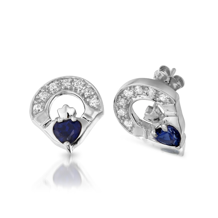 9ct White Gold Sapphire Claddagh Earrings studded with Synthetic Sapphire and CZ Micro Pave stone setting - E187SW