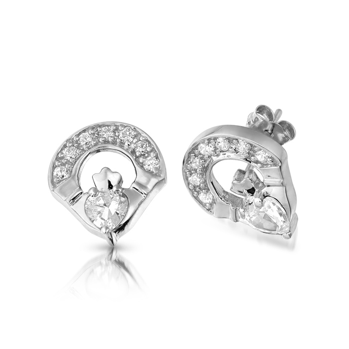 9ct White Gold CZ Claddagh Earrings - E187W