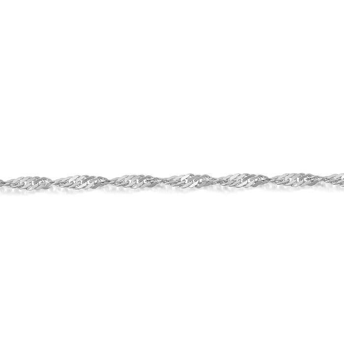 9ct White Gold Twisted Curb Chain - DISCO25W