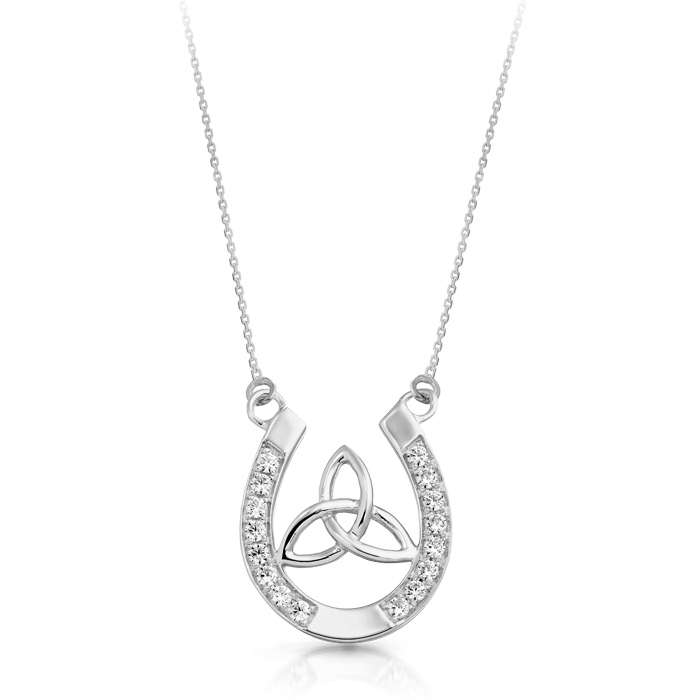 Silver Celtic Pendant with Trinity Knot in Horse Shoe Shape - SP016