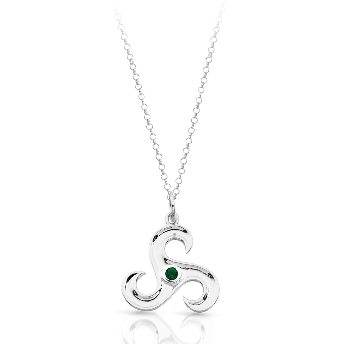 Silver Triskele Celtic Pendant studded with Green CZ - SP024G