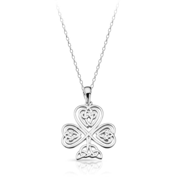 Silver Shamrock Celtic Pendant - SP032