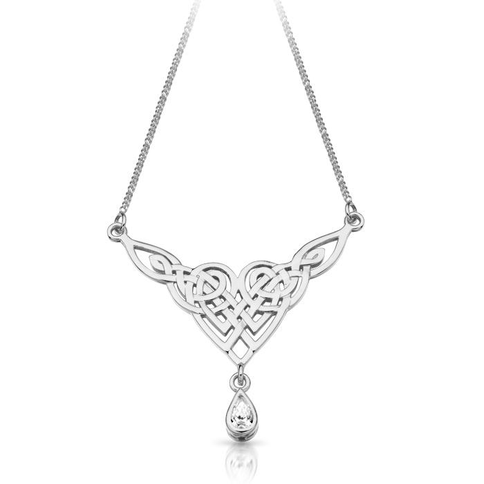 Silver Celtic Pendant Necklace incorporating traditional Celtic knots - SP035