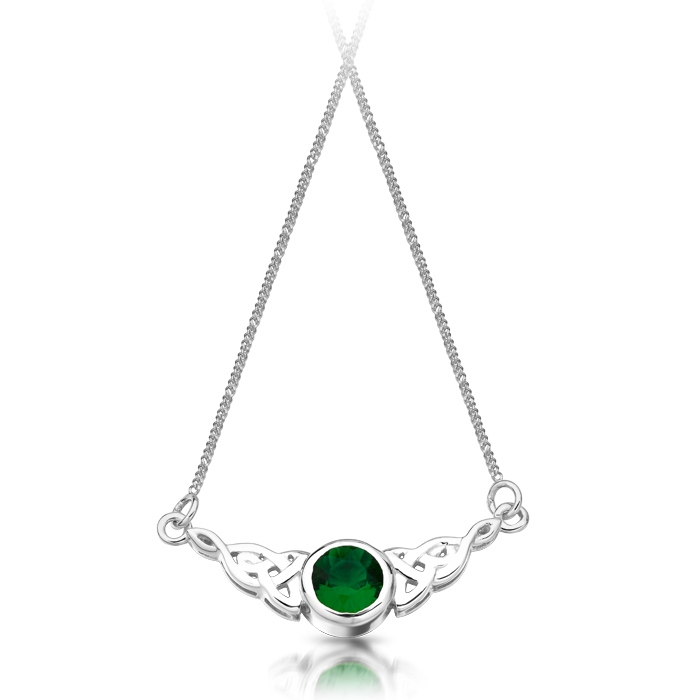 Silver Celtic Necklace studded with CZ Emerald - SP036G