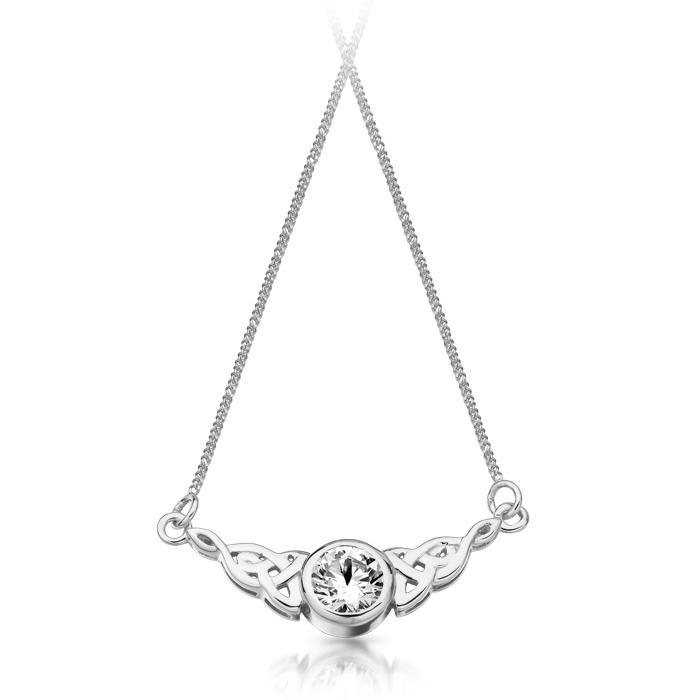 Silver CZ Celtic Necklace studded with CZ - SP036