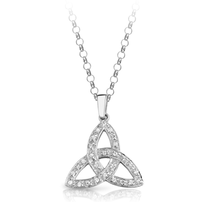 Silver Trinity Knot Celtic Pendant studded with Cubic Zirconia - SP06