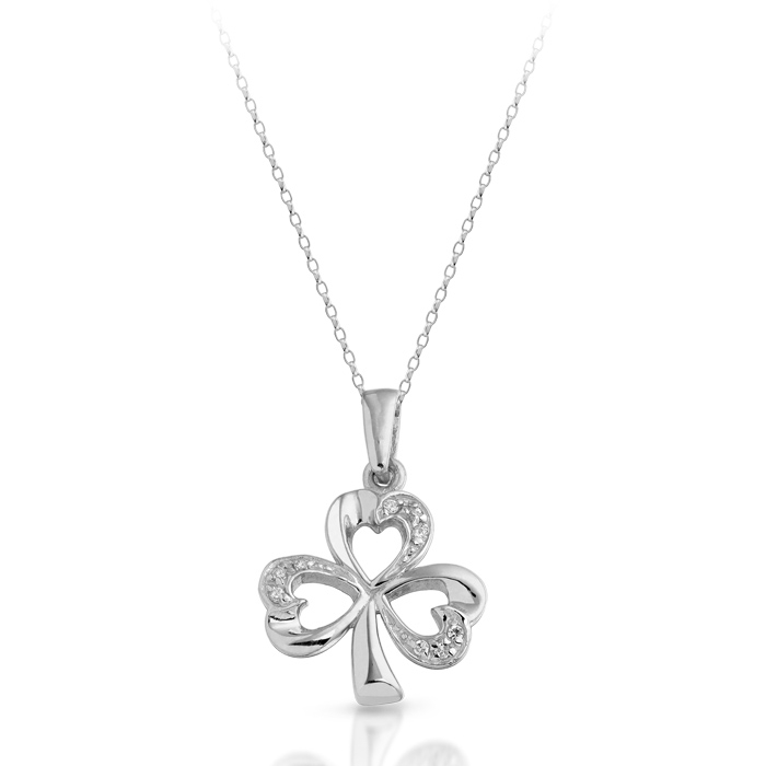 Silver Shamrock Pendant studded with Cubic Zirconia - SP07