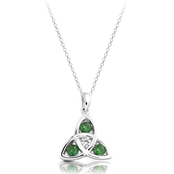 Silver Trinity Celtic Pendant studded Clear CZ and Emerald Green - SP08G