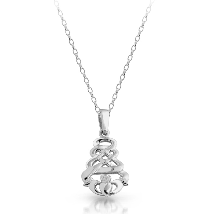 Silver Claddagh Pendant with Celtic Knot Design - SP32