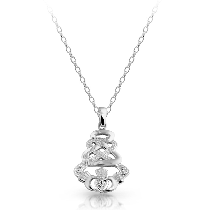 Silver Claddagh Pendant with Celtic Knot Design and studded with Cubic Zirconia - SP32CZ