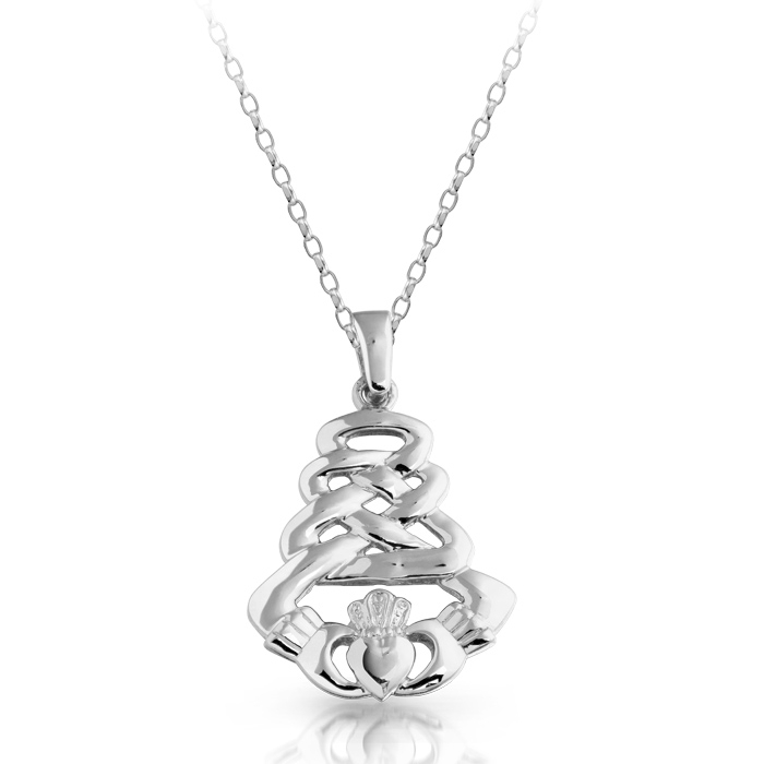 Silver Claddagh Pendant with Celtic Knot Design - SP33