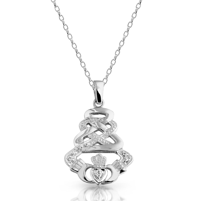 Silver Claddagh Pendant with Celtic Knot Design and studded with Cubic Zirconia - SP33CZ