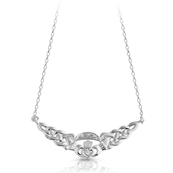 Silver Claddagh Pendant Necklace combined with Celtic Knot design.