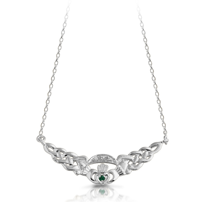 Silver Claddagh Necklace combined with Celtic Knot Design.