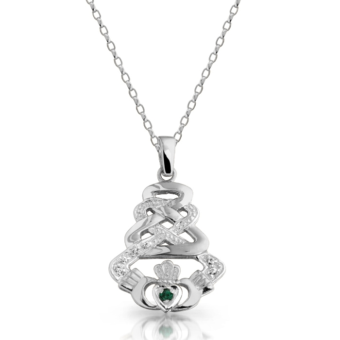 Silver Claddagh Pendant with Celtic Knot Design and studded with Cubic Zirconia -SP33CZG