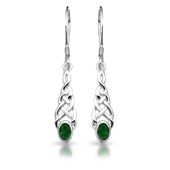 Silver Cz Celtic Earrings Se035g Irish Jeweller