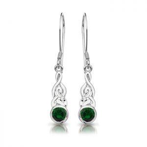 Silver CZ Celtic Earrings-SE036G