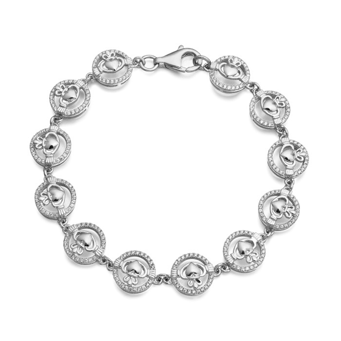 Silver Claddagh Bracelet studded with Micro Pavé CZ stone setting - SCLB31