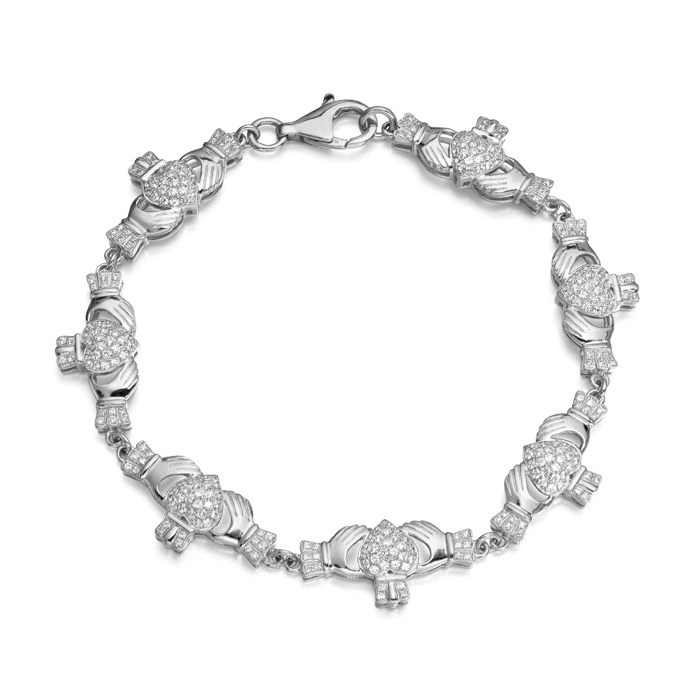 Silver Claddagh Bracelet made in Ireland and set with line of sparkling accent stones all over puffed Heart - SCLB39