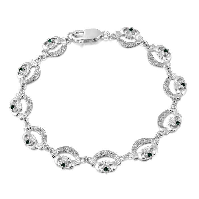Silver Claddagh Bracelet studded with Cubic Zirconia and crafted in Ireland SCLB4CZG