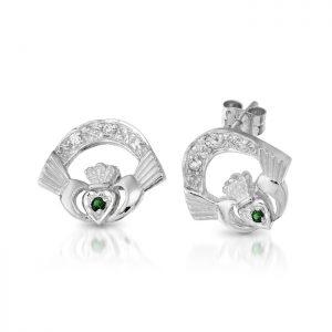 Silver Claddagh Earrings-SCLECZG