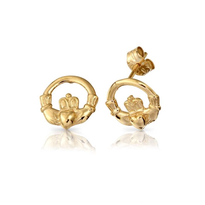 9ct Gold Claddagh Earrings - EL1
