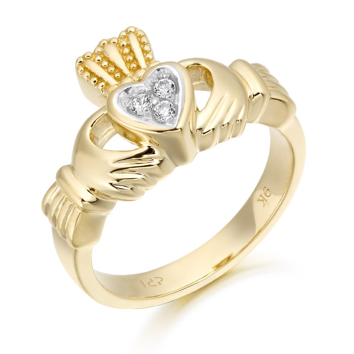 9ct Gold Claddagh Ring studded with Cubic Zirconia - CL15