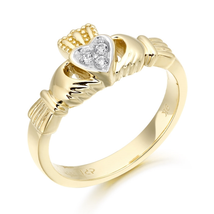 9ct Gold Claddagh Ring studded with Cubic Zirconia - CL16