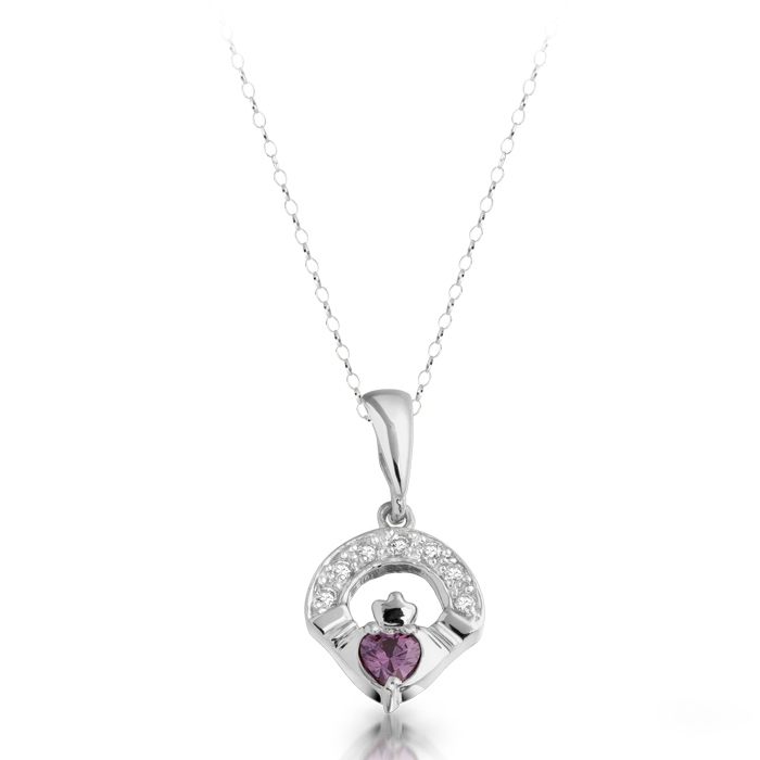 Silver Claddagh Pendant with a Heart shaped CZ Amethyst stone in the centre.