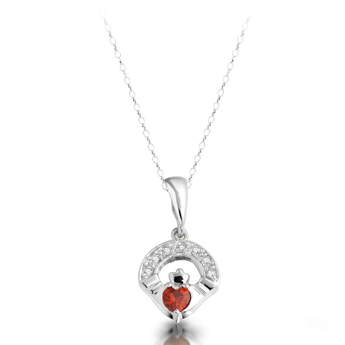 Silver Claddagh Pendant studded with Cubic Zirconia and synthetic Garnet stone in the centre.