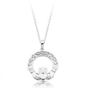 Silver Celtic Claddagh Pendant with Chain-SP025