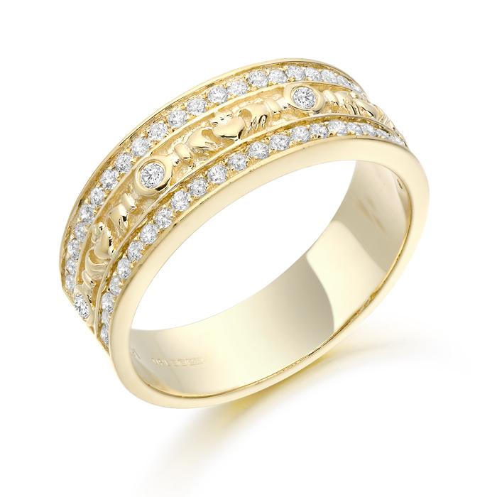 9ct Gold CZ Claddagh Wedding Band - CL17