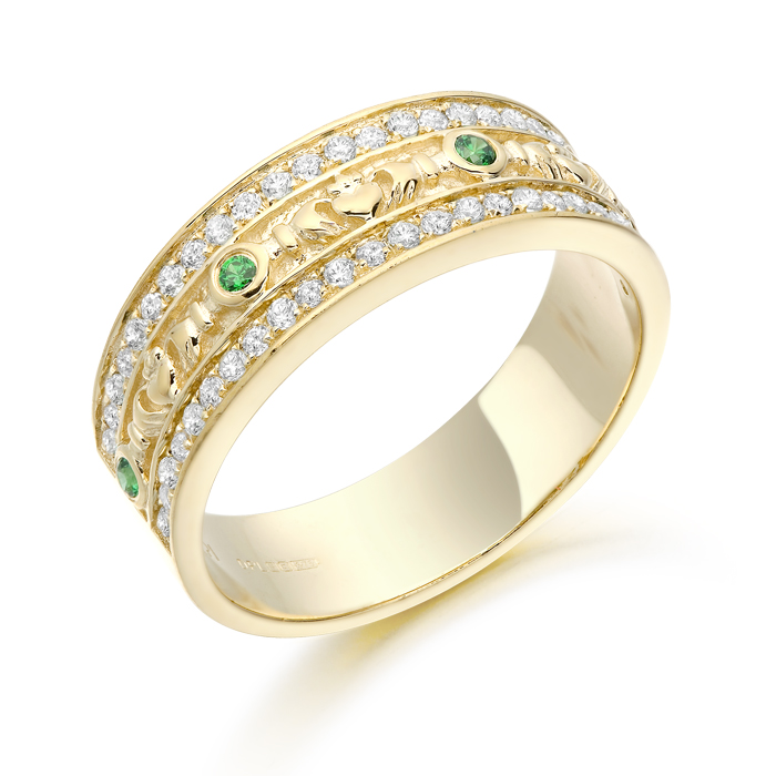 Claddagh Wedding Ring studded with Micro Pavé stone setting - CL17G