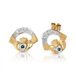 Gold Claddagh Earrings-CLECZG
