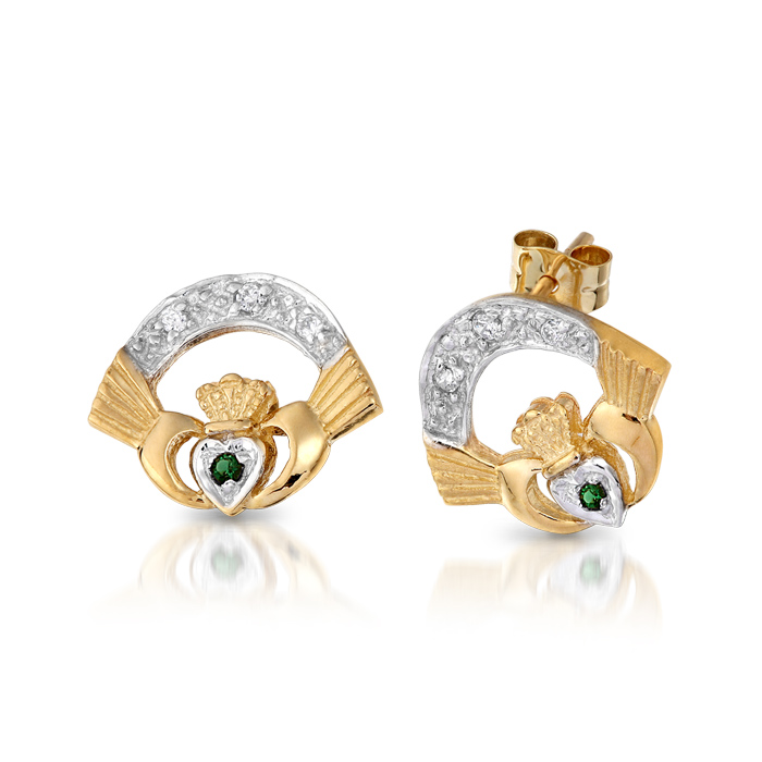9ct Gold Claddagh Earrings studded with CZ and Synthetic Emerald - CLECZG