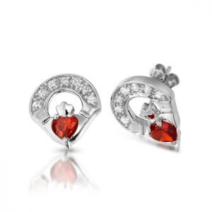 Silver Claddagh Earrings-SE187GAR