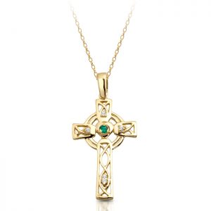 CZ Emerald Celtic Cross-C138G