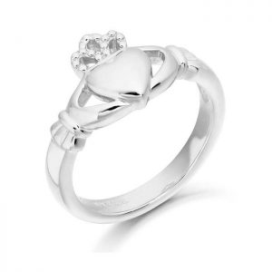 White Gold Ladies Claddagh Ring-CL2W