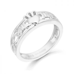 White Gold Claddagh Ring with Celtic Knot-CL3W