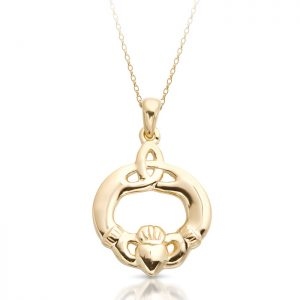 Claddagh Pendant with Trinity Knot Celtic design-P052
