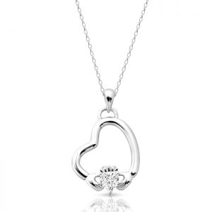 White Gold Floating Heart Claddagh Pendant-P053W
