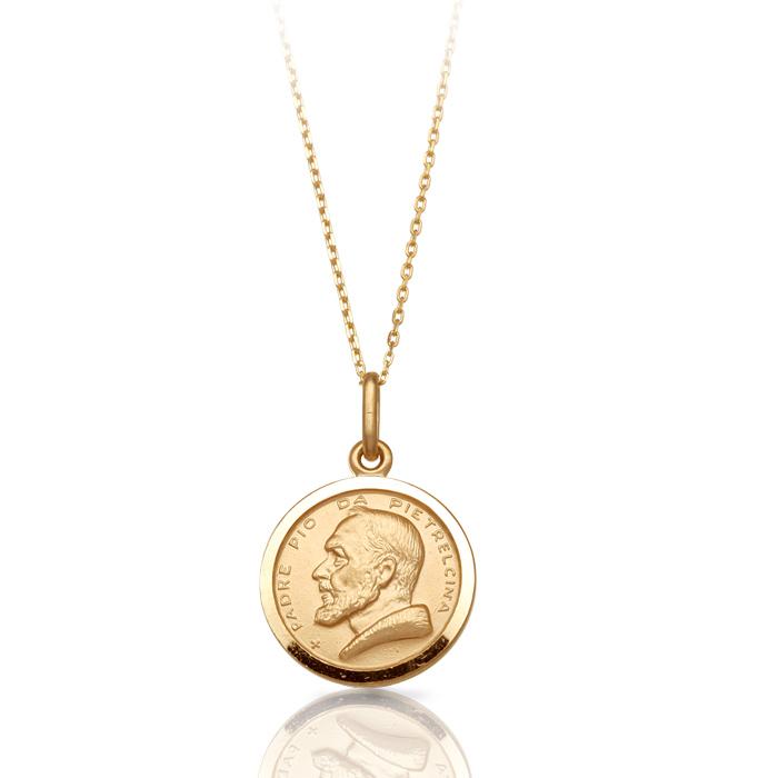 9ct Gold Padre Pio Medal Pendant.