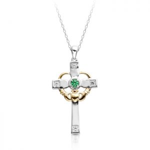 White Gold Claddagh Cross studded with Cubic Zirconia-C139