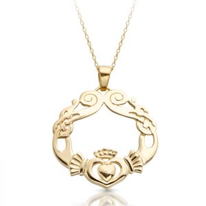 Claddagh Pendant with Celtic Knot design-P051
