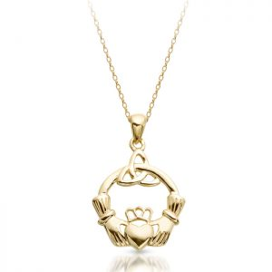 Claddagh Pendant with Celtic Knot-P054