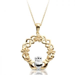 Claddagh Pendant with Celtic Knot and Shamrock-P056