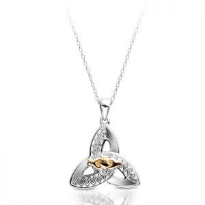 White Gold Trinity Knot Celtic Pendant-P057W