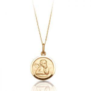 9ct Gold Guardian Angel Medal -J5